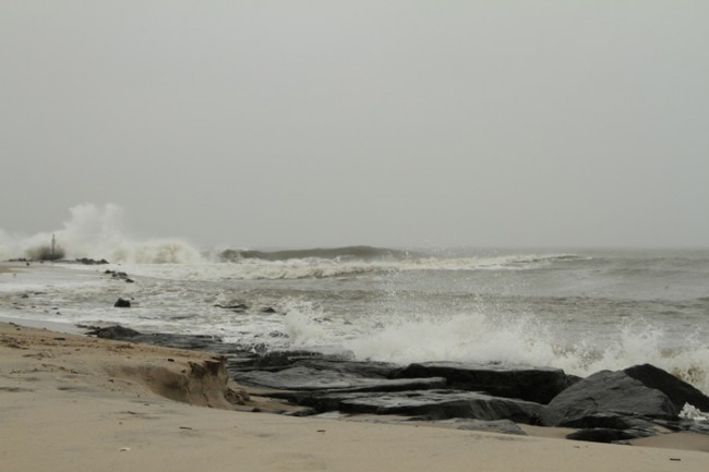 Stormy high tide