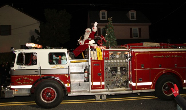 Santa arrives at the West Cape May Parade