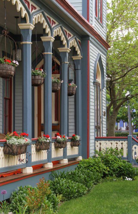Flowers along porches