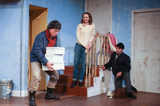 Bob Dreyfuss (Delivery Man), Michael Basile (Telephone Repair Man), and Holly Williams (Corie Bratter). Photo credit: Aleksey Photography
