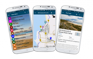 Three screenshots of the App showing map, listing and home screen