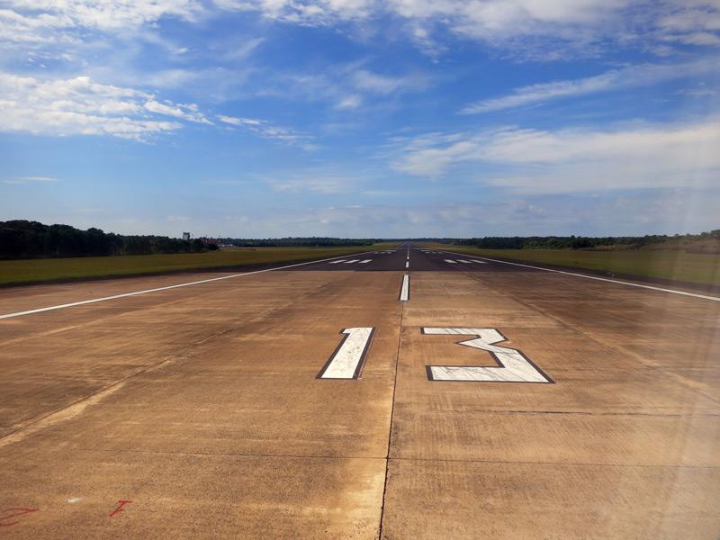 Turning onto the runway