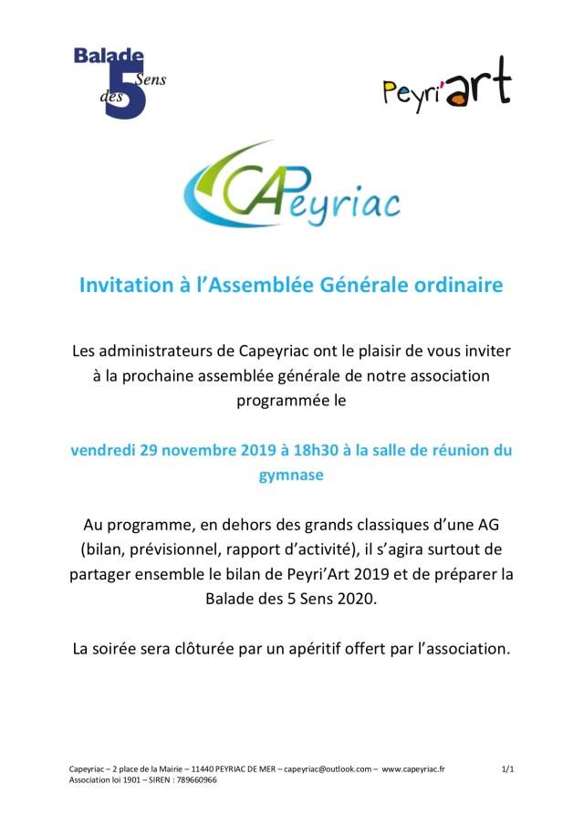 Affiche de l'invitation à l'assemblée générale de Capeyriac