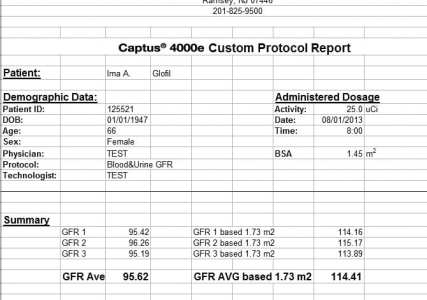 Captus ® Thyroid Uptake System Custom Protocol- Report Page