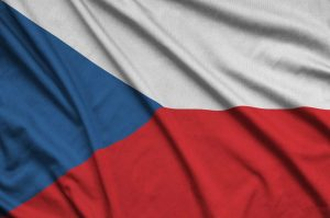 Czech flag is depicted on a sports cloth fabric with many folds