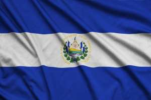 El Salvador flag is depicted on a sports cloth fabric with many folds.