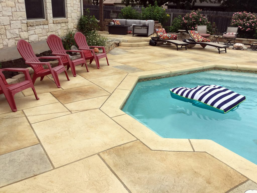 pool deck with concrete resurfacing