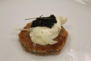 Stunt's goat-Gruyere/Red Fife bannock cake with caviar and cream