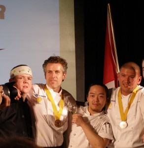 Our bronze and silver medallists, Matt Carmichael and Toronto's David Lee, with their sous chefs