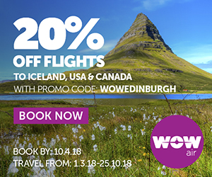 20% off flights to Iceland, USA and Canada use code WOWEDINBURGH