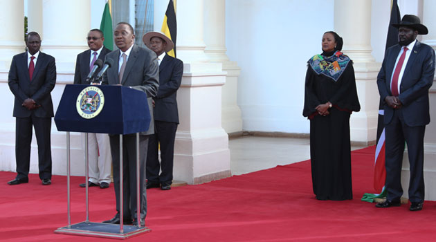 The leaders who attended a consultative meeting in Nairobi on Thursday were President Yoweri Museveni of Uganda, Prime Minister Hailemariam Desalegn of Ethiopia and President Salva Kiir Mayardit of South Sudan/PSCU