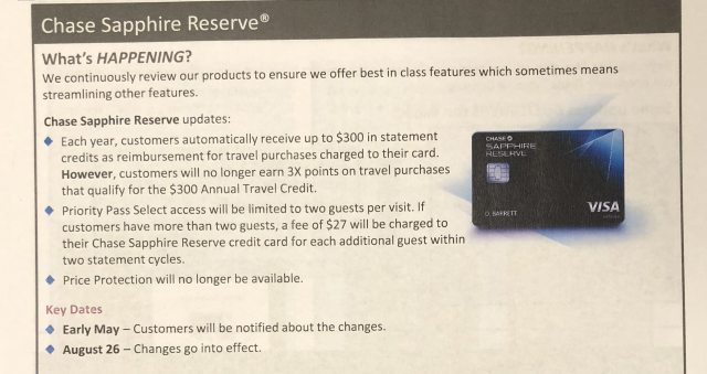Chase Sapphire Reserve negative changes