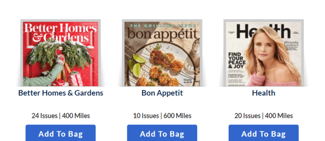 airline miles for magazine subscriptions