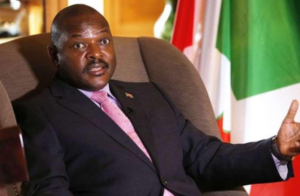 Burundian President Pierre Nkurunziza talks during an interview