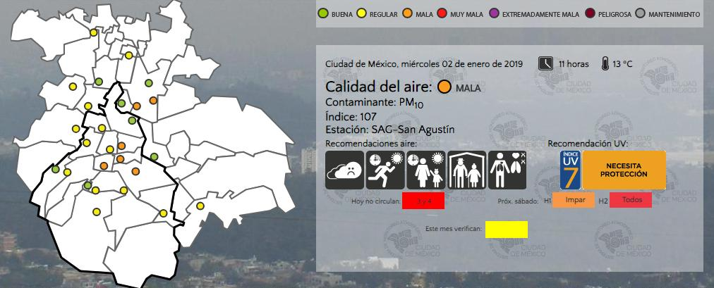 reporte calidad del aire CDMX