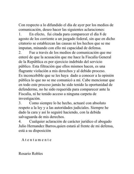 Carta Rosario Robles