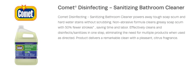Procter Gamble Comet Liquid Bath Cleaner Disinfecting Sanitizing Concentrate Closed Loop 20542 Capital Supply Company
