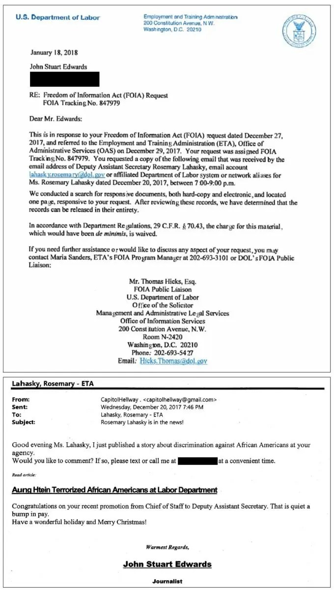 Lahasky Email Department of Labor FOIA Request 847979