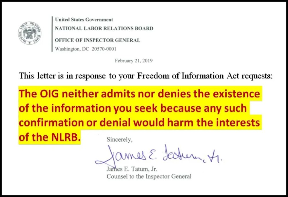 FOIA RESPONSE FROM NLRB IG DAVID POTTS BERRY