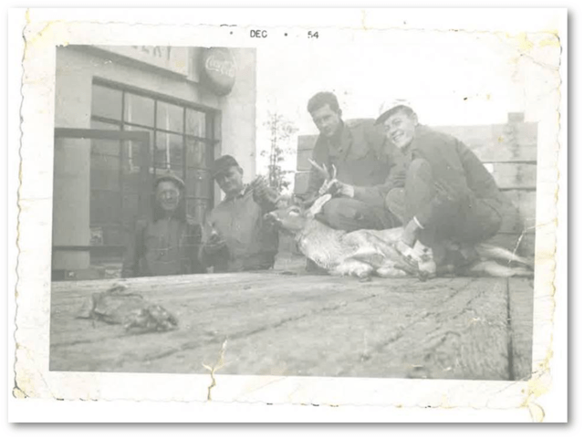 Thanksgiving 1954 Dad, Uncle Lawrence, Great Uncle Frank and Great Uncle Si nearly 60 years ago — in Buckingham County, Virginia.