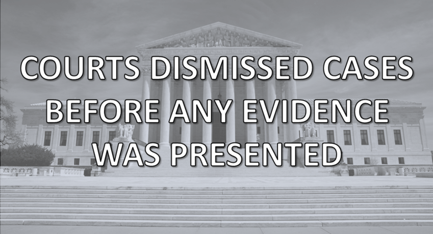 COURTS DISMISSED CASES BEFORE ANY EVIDENCE WAS PRESENTED