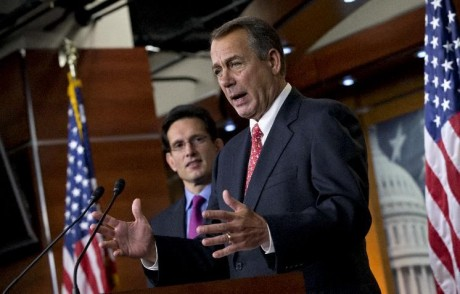 Speaker of the House John Boehner, R-Ohio, joined by House Majority Leader Eric Cantor, R-Va., speaks to reporters about the fiscal cliff negotiations at the Capitol in Washington. Celebration doesn't seem to be high on the agenda as House Republicans, their majority renewed by the voters last fall, lay the groundwork for another challenge to President Barack Obama over federal spending. (AP Photo/J. Scott Applewhite, File)