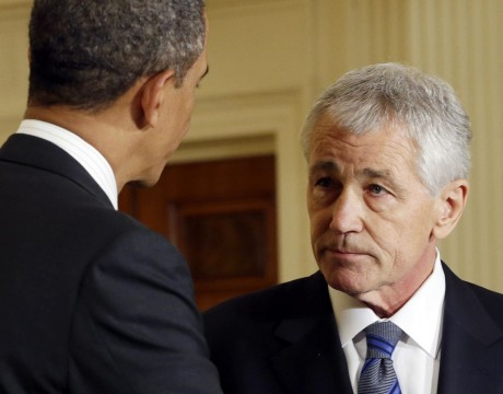 Chuck Hagel with President Obama (AP Photo/Carolyn Kaster, File)