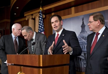 Sen. Marco Rubio, R-Fla., center, speaks at a Capitol Hill news conference on immigration legislation with a members of a bipartisan group of leading senators, including, from left, Sen. John McCain, R-Ariz., Sen. Chuck Schumer, D-N.Y. and Sen. Robert Menendez, D-N.J., in Washington.  (AP Photo/J. Scott Applewhite, File)