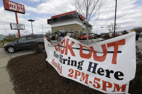 a help wanted sign in front of a restaurant in Richmond, Va. The U.S. economy has enjoyed a four-month stretch of robust job gains, and on Friday, April 5, 2013, the government will signal whether that trend endured into March (AP Photo/Steve Helber)