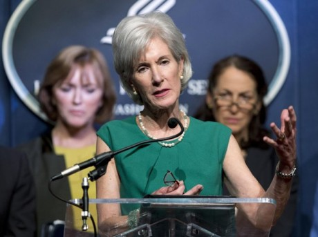 Health and Human Services (HHS) Secretary Kathleen Sebelius, center, accompanied by Centers for Medicare and Medicaid Services Acting Administrator Marilyn Tavenner, left, and Food and Drug Administration (FDA) Commissioner Margaret Hamburg, speaks during a news conference at the HHS in Washington, Wednesday, April 10, 2013, to discuss President Barack Obama's fiscal 2014 for the Health Department. (AP Photo/Manuel Balce Ceneta)