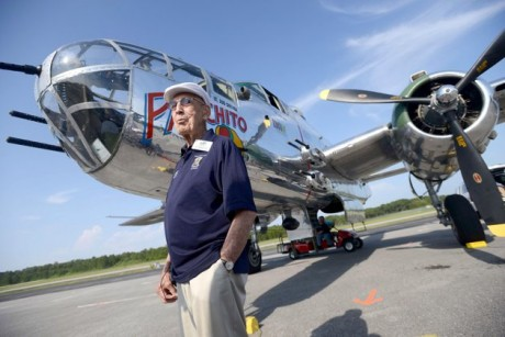 Doolittle Raider Lt. Col. Dick Cole, stands in front of a B-25 at the Destin Airport in Destin, Fla. on Tuesday April 16, 2013 before a flight as part of the Doolittle Raider 71st Anniversary Reunion. Cole was Lt. Col. Jimmy Doolittle's co-pilot during the raid. The Doolittle Tokyo Raid was a notable attack on the Japanese during World War II using B-25's. The B-25 pilots trained to take off from an aircraft carrier, which the plane was not designed to do. (AP Photo/Northwest Florida Daily News, Nick Tomecek)