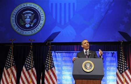 President Barack Obama speaks at the Planned Parenthood National Conference at the Marriott Wardman Park Hotel in Washington. REUTERS/Mike Theiler