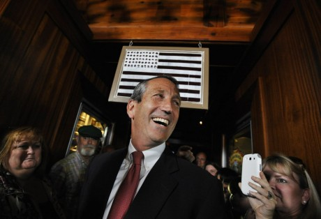Former South Carolina Gov. Mark Sanford arrives to give his victory speech on Tuesday, May 7, 2013, in Mt. Pleasant, S.C. Sanford won back his old congressional seat in the state's 1st District in a special election. (AP Photo/Rainier Ehrhardt)
