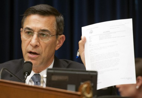 House Oversight and Government Reform Committee Chairman Rep. Darrell Issa, R-Calif., questions a witness about a State Department cable during a hearing on Benghazi: Exposing Failure and Recognizing Courage on Capitol Hill in Washington, Wednesday, May 8, 2013.(AP Photo/Cliff Owen)