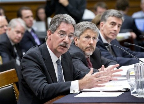 From left to right, Deputy Attorney General James Cole, Robert S. Litt, general counsel in the Office of Director of National Intelligence, National Security Agency Deputy Director John C. Inglis, testify at a House Judiciary hearing on domestic spying on Capitol Hill in Washington, Wednesday, July 17, 2013. (AP Photo/J. Scott Applewhite)