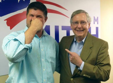 Jesse Benton (left) and Mitch McConnell:  A joke now, but...