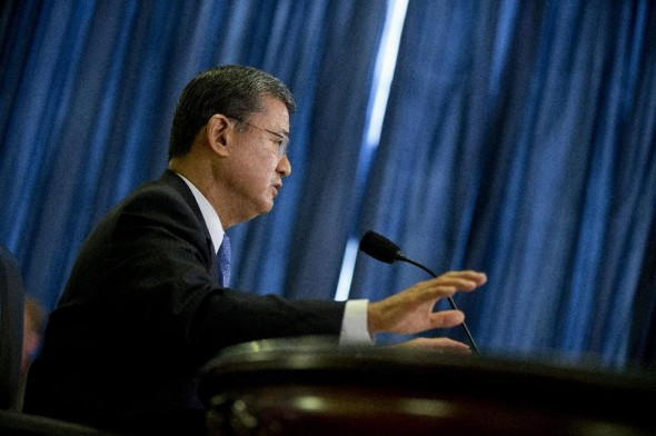 Veterans Affairs Secretary Eric Shinseki testifies on Capitol Hill.  (AP Photo/ Evan Vucci)