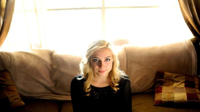 Sarah Ball, a victim of cyber bullying during her high school years.  (AP Photo/Brian Blanco)