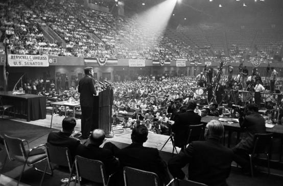 John F. Kennedy speaks in Des Moines, Iowa, in the 1960 Presidential election. (AP)