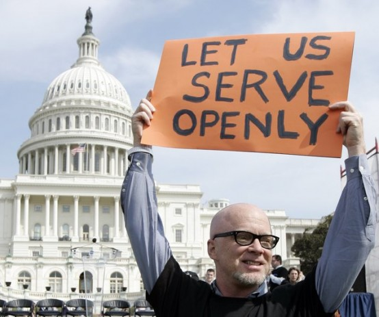 Veteran in Washington during debate on repealing ban on gays in military service.