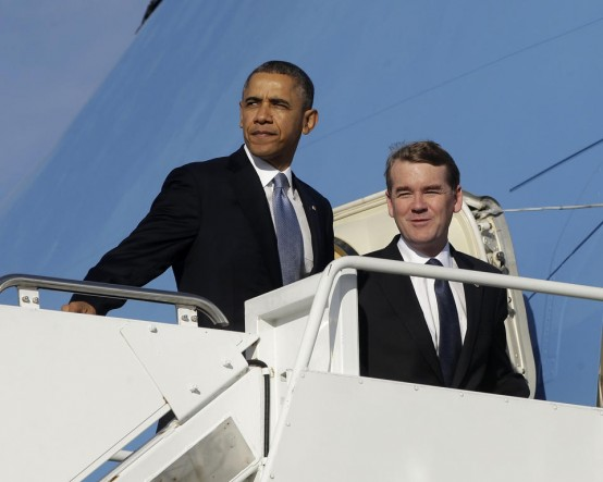 President Barack Obama and Democratic Senatorial Campaign Committee Chairman Sen. Michael Bennet. (AP/Pablo Martinez Monsivals)