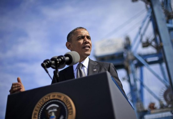 President Barack Obama speaks at Port of New Orleans Friday. (AP/Pablo Martinex Monsivais)