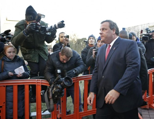Embattled New Jersey Gov. Chris Christie leaves city hall in Ford Lee (AP/Kathy Willens)