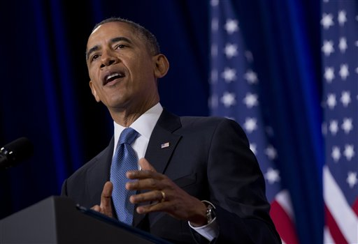President Barack Obama talks about National Security Agency.  (AP Photo/Carolyn Kaster)