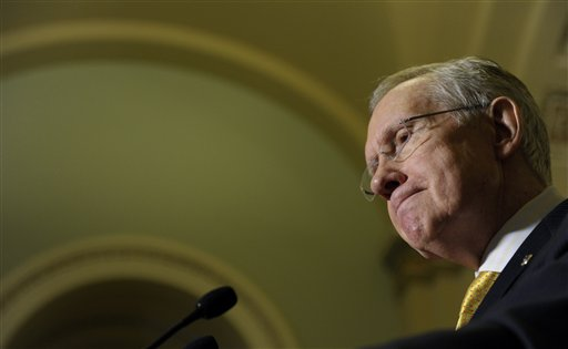 Senate Majority Leader Harry Reid of Nev. pauses during a news conference. (AP Photo/Susan Walsh)