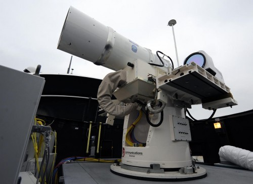 One of the Navy's laser weapons. (U.S. Navy, John F. Williams)