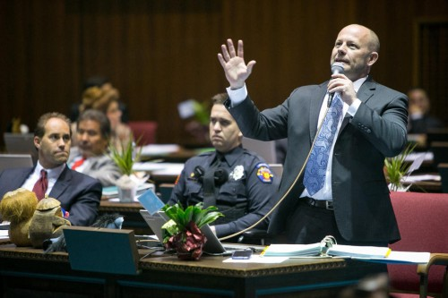 House Minority Leader Chad Campbell, (D) Phoenix, argues that House Bill 2153 would discriminate against gays and others.  (AP Photo / The Arizona Republic, Michael Schennum)