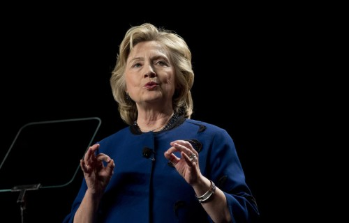 Former secretary of state Hillary Clinton speaks to a group of supporters and University of Miami students at UM in Coral Gables, Fla.  (AP Photo/J Pat Carter)