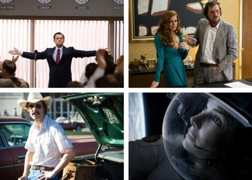 Leonardo DiCaprio in The Wolf of Wall Street (Paramount Pictures); Amy Adams and Christian Bale in American Hustle (Sony Pictures), Sandra Bullock in Gravity (Warner Bros.) and Matthew McConaughey in Dallas Buyers Club (Warner Bros.).