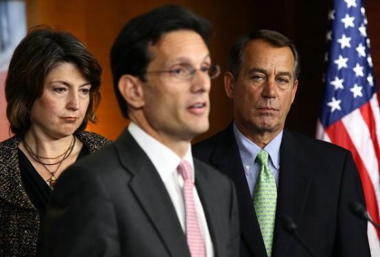 Eric Cantor (center) and John Boehner (right).